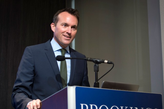 Secretary of the Army Eric Fanning delivers opening remarks to  representatives and members of the Blue Star Families at Brookings in Washington, D.C., Dec. 08, 2016. The discussion was to mark the release of the 2016 Blue Star Families annual Military Family Lifestyle Survey, one of the most critical tools to understanding the issues facing service members, veterans, and military family members.
