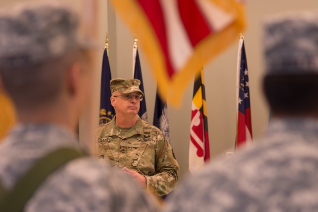 """VANCOUVER, Wash. - Deputy Commanding General of the 80th Training Command, Brig. Gen. Thomas Evans, speaks about change during deactivation ceremony for the 1st Battalion of the 413th Regiment held here on Dec. 9, 2016. """"Change is going to happen,"""" said Evans. """"What matters is how you react to change."""" The ceremony marks the closing of the unit as part of a larger restructuring of the 800th Logistics Support Brigade, headquartered in Mustang, Oklahoma."""