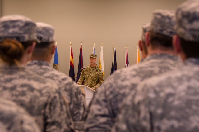 """VANCOUVER, Wash. - The Commander of the 800th Logistics Support Brigade, Col. Bradly Boganowski, shares his thoughts during the 1st Battalion of the 413th Regiment's deactivation ceremony held here on Dec. 9, 2016. """"I couldn't be prouder in you or your service to this battalion and the 800th brigade,"""" said Boganowski. """"Now, I charge you to carry the spirit of the 1st Battalion 413th Regiment forward."""" The ceremony marks the closing of the unit as part of a larger restructuring of the 800th Logistics Support Brigade, headquartered in Mustang, Oklahoma."""