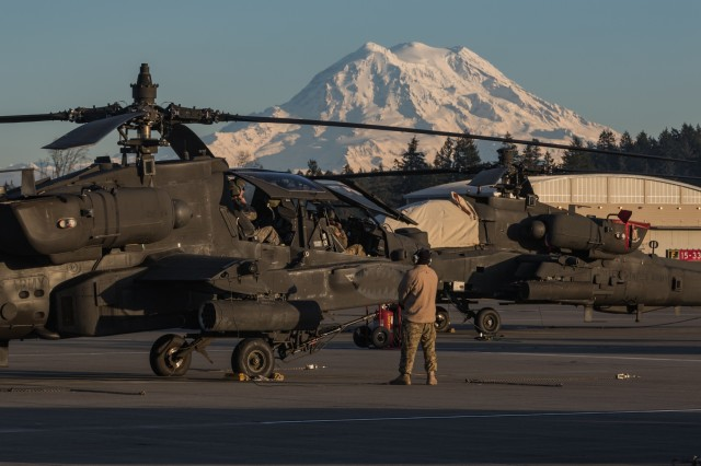 U.S. Army AH-64E Apache helicopter pilots assigned to 16th Combat Aviation Brigade, 7th Infantry Division prepare for a training flight at Joint Base Lewis-McChord, Wash., Dec. 7, 2016. Pilots spend countless hours honing their skills during both day and night training flights.