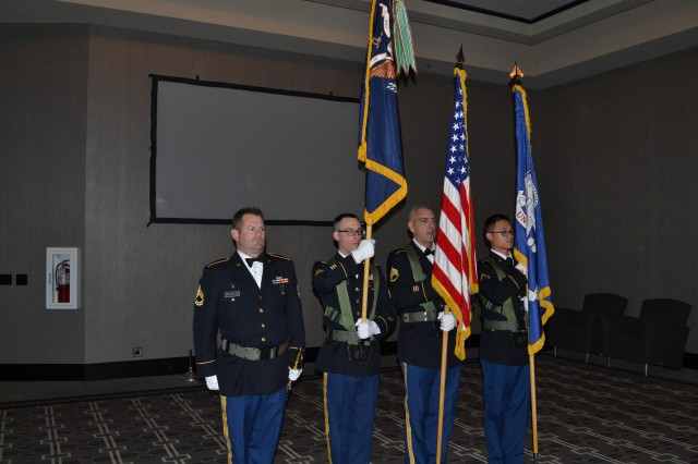 Color guard from the 3rd Battalion, 379th Regiment starts the battalion's deactivation ceremony in Fort Smith, Arkansas on Dec. 10, 2016. The ceremony marks the closing of the unit as part of a larger restructuring of the 800th Logistics Support Brigade, which is headquartered in Mustang, Oklahoma. (Photo Credit: Sgt. 1st Class Emily Anderson)