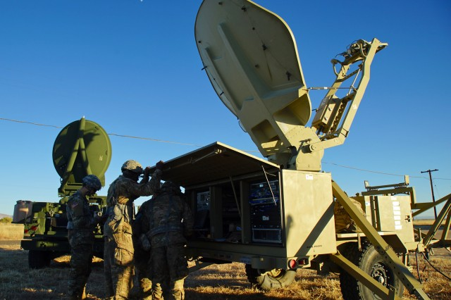 51st ESB Soldiers train on a Secure, Mobile, Anti-Jam, Reliable, Tactical -- Terminal (SMART-T) system at Bisbee-Douglas Airport in Bisbee, Ariz Dec. 8, 2016.