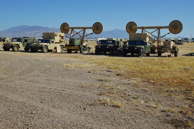 Troposcatter communications systems belonging to the 51st ESB point south at Davis-Monthan AFB, Ariz. Dec. 9, 2016.