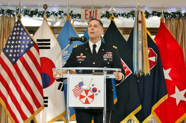 Eighth Army Commanding General Lt. Gen. Thomas S. Vandal speaks to attendees during Vandal's Holiday Reception at U.S. Army Garrison Yongsan, South Korea, Dec. 10. The Holiday Reception promoted the holiday spirit and reinforced the alliance between the ROK and the U.S.