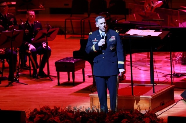 Eighth Army Commanding General Lt. Gen. Thomas S. Vandal gives his opening remarks before the start of the ninth annual Korean-American Friendship Holiday Concert held at the Seoul Arts Center, Seoul, South Korea, Dec. 11. The concert offered Koreans and Americans a chance to get into the holiday spirit and appreciate each other's holiday traditions.