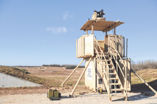 The Modular Protective System Multipurpose Guard Tower is set up to test the capabilities with the Common Remotely Operated Weapon Station mounted on top.