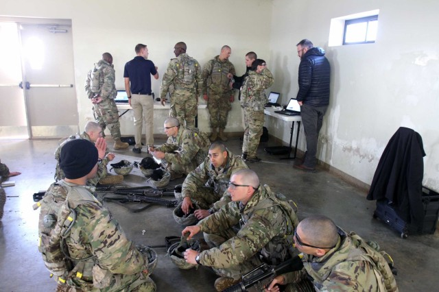 Basic combat training Soldiers in C Battery, 1st Battalion, 79th Field Artillery, wait to meet with performance experts to learn energy management strategies. All 240 Soldiers of the battery went through the exercise, Dec. 6 and 7, 2016.