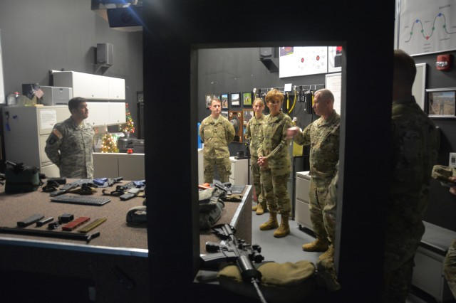 Lt. Gen. Nadja West, Army Surgeon General, visits the Fire Arms Training Simulation room in the Center for the Intrepid Dec. 14, 2016. This was one of many stops to view the state-of-the-art equipment within the CFI.