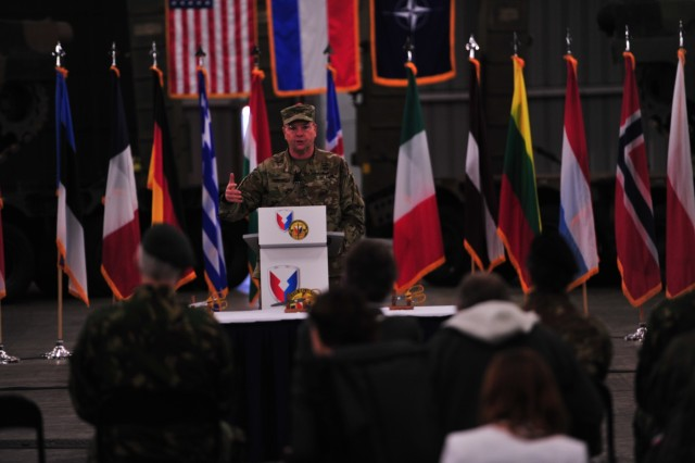 Lt. Gen. Ben Hodges, commanding general, U.S. Army Europe, spoke to Dutch and U.S. military and diplomatic leaders about the importance of the Army Prepositioned Stocks for speed, and deterrence at the ribbon-cutting ceremony for the APS site at Eygelshoven Army Depot-BENELUX, Dec. 15.