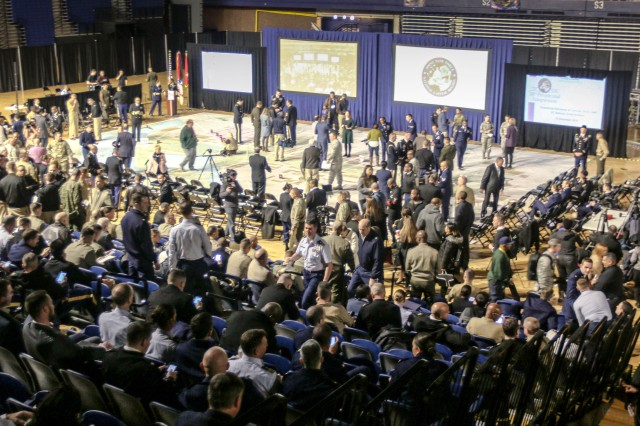 Media and military personnel participate in a ceremonial rehearsal of concept drill at the D.C. National Guard Armory in Washington Dec. 14, 2016. This final planning symposium showcased the culmination of months of preparation between military and civilian entities for the 58th Presidential Inauguration.