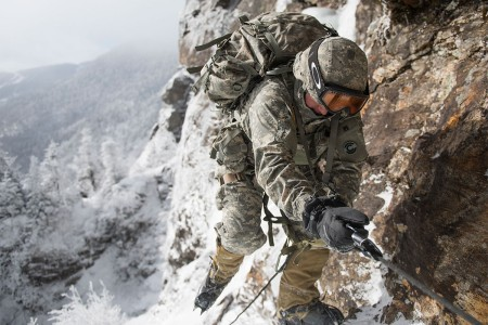 Sgt. Ryan Hawley climbs the mountain at Smugglers' Notch in Jeffersonville, Vt., Feb. 18, 2016. Hawley is attached to 1st Battalion, 157th Infantry Regiment, Colorado National Guard. The Mountain Walk is a culminating event for basic and advanced mountain warfare students to use the skills taught at the Mountain Warfare School.