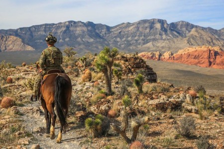 A Green Beret from 3rd Special Forces Group (Airborne), practices horse riding techniques in Nevada, Feb. 26, 2016.