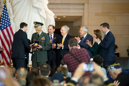 Retired Col. Manuel F. Siverio of the 65th Infantry Division (The Borinqueneers) is presented the Congressional Gold Medal, April 13, 2016, on behalf of the unit at the Capitol. Honoring the 65th Infantry Regiment, the Borinqueneers (From left to right: House Speaker Paul Ryan (WI), Sergeant Major José E. Colón, Colonel Manuel F. Siverio Sr., Secretary of Veterans Affairs Robert A. McDonald, Senate Majority Leader Mitch McConnell (KY), Senate Minority Leader Harry Reid (NV), House Minority Leader Nancy Pelosi (CA-12), and Acting Secretary of the Army Patrick J. Murphy.