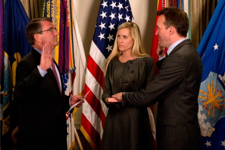 Defense Secretary Ash Carter swears in Eric Fanning as Army Secretary during a ceremony, May 18, 2016, at the Pentagon.