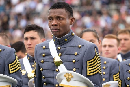 Cadet Alix Idrache sheds tears of joy during the U.S. Military Academy's Class of 2016 commencement ceremony at Michie Stadium in West Point, N.Y., May 21.