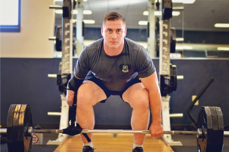 "1st Lt. Carey Duval answered Sgt. Maj. of the Army Daniel Dailey's call to show one way to train to stay ready by performing a deadlift at U.S. Army Fort Campbell, Ky., June 8, 2016. This Soldier for Life, assigned to 2nd Brigade Combat Team ""STRIKE"", 101st Airborne Division (Air Assault), became an amputee during a deployment in Afghanistan in support of Operation Enduring Freedom."