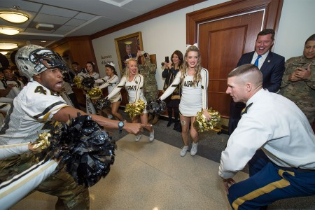 Sgt. Maj. of the Army Daniel A. Dailey emerged from his office at the Pentagon to give his support for the Army-Navy Game, Dec. 9, 2016.