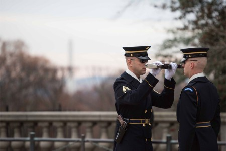 Sentinel Spc. Preston Millison, 3rd U.S. Infantry Regiment (The Old Guard), conducts his last walk at the Tomb of the Unknown Soldier, Arlington National Cemetery, Va., Dec. 6, 2016. Millison is badge holder number 633 and has served at the Tomb since June 2014.
