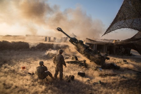 Soldiers fire a M777 A2 Howitzer in support of Operation Inherent Resolve at Platoon Assembly Area 14, Iraq, Nov. 29, 2016. They are assigned to Charlie Battery, 1st Battalion, 320th Field Artillery Regiment, 2nd Brigade Combat Team, 101st Airborne Division. The U.S. stands with a global Coalition of more than 60 international partners to assist and support the Iraqi security forces to degrade and defeat ISIL. Combined Joint Task Force-Operation Inherent Resolve is the global Coalition to defeat ISIL in Iraq and Syria.