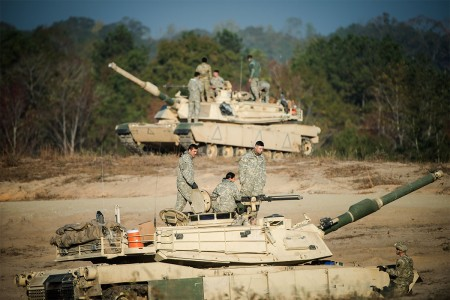 Students from the Infantry and Armor Basic Leader courses train for their future careers and develop realistic tactical skills during a combined competitive maneuver exercise at Good Hope Training Area, Fort Benning, Ga., Nov. 16, 2016. Students are tasked with the objective of defending or seizing an installation.  The first 13 women Armor officers graduated, Dec. 1, from the Armor Basic Officer Leader Course.