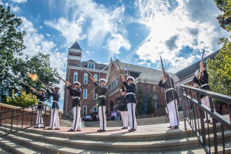 Clemson University's Reserve Officers' Training Corps honor guard, the Pershing Rifles, execute a 21-gun salute on Military Heritage Plaza to honor the victims of Sept. 11, 2001 during a 9/11 memorial service, Sept. 11, 2016.