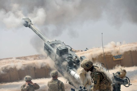 Soldiers execute a fire mission with an M777 howitzer during an operation to support Iraqi security forces at Kara Soar Base, Iraq, Aug. 7, 2016. They are with Battery C, 1st Battalion, 320th Field Artillery Regiment, Task Force Strike and support the Combined Joint Task Force -- Operation Inherent Resolve mission by providing indirect fire support for Iraqi security forces as they continue to combat Da'esh and re-take lost terrain.