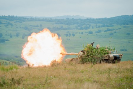Soldiers conduct a live fire exercise, Aug. 2, 2016, in an M1A2 Abrams Tank during Exercise Saber Guardian 16 at the Romanian Land Force Combat Training Center in Cincu, Romania. They are with Delta Company, 3rd Battalion, 116th Cavalry Brigade Combat Team. Saber Guardian is a multinational military exercise involving approximately 2,800 military personnel from ten nations including Armenia, Azerbaijan, Bulgaria, Canada, Georgia, Moldova, Poland, Romania, Ukraine and the U.S. The exercise is designed to build multinational, regional and joint partnership capacity by enhancing military relationships, exchanging professional experiences, and improving interoperability between the land forces from the participating countries