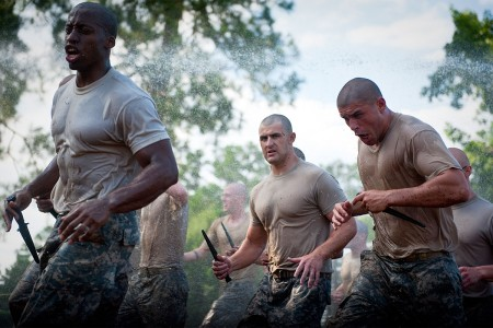 Students endure the first day of Ranger School during the Ranger Assessment Phase at Camp Darby, Fort Benning, Ga., July 25, 2016. RAP week begins with the Ranger Physical Assessment, which requires students to complete 49 push-ups, 59 sit-ups, a 5-mile run in 40:00 minutes, and six chin-ups. Following the RPA, students conduct the Combat Water Survival Assessment at Victory Pond.