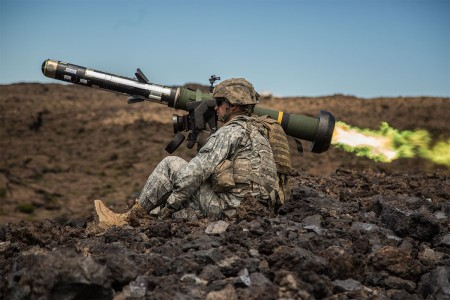 Soldiers shoot the Javelin, an anti-tank weapon, July 28, 2016, at the Pohakuloa Training Area, Hawaii. They are with Company C, 2nd Battalion, 27th Infantry Regiment, 3rd Brigade Combat Team, 25th Infantry Division U.S. and Singapore Armed Forces troops trained together during the bilateral exercise Tiger Balm 16.