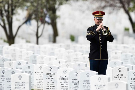 "A Soldier from The United States Army Band ""Pershing's Own"" performs Taps, April 4, 2016, for Sgt. Wilson Meckley Full Honor Funeral at  Arlington National Cemetery, Va. Meckley was assigned to Company A, 1st Battalion, 32nd Infantry Regiment, 7th Infantry Division, during the Korean War. While operating in the Chosin Reservoir Meckley's element was overwhelmed and he was reported missing, Dec.  2, 1950. On March 28, 2016 it was announced by The Department of Defense POW/MIA Accounting Agency that Meckley's body had been recovered."