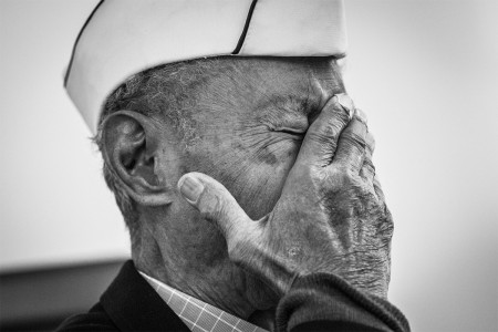 Veteran and World War II prisoner of war Jesse Baltazar, 95, a Bataan Death March survivor wipes his face during a survivor talk, March 19, 2016, on a day prior to the 27th Annual White Sands Missile Range, N.M., Memorial Bataan Death March. Baltazar...