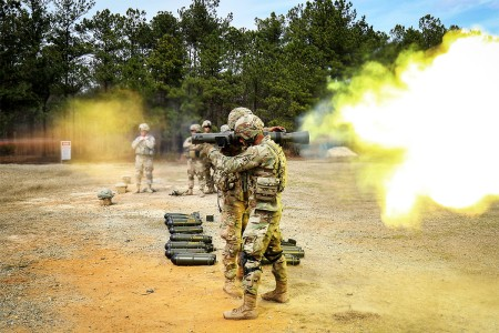 Spc. Michael A. Burton, foreground, fires a Carl Gustav M3 84 mm recoilless rifle during a live-fire certification course on Fort Bragg, N.C., March 9, 2016. Burton is an infantryman assigned to the 82nd Airborne Division's 2nd Battalion, 504th Parachute Infantry Regiment, 1st Brigade Combat Team.