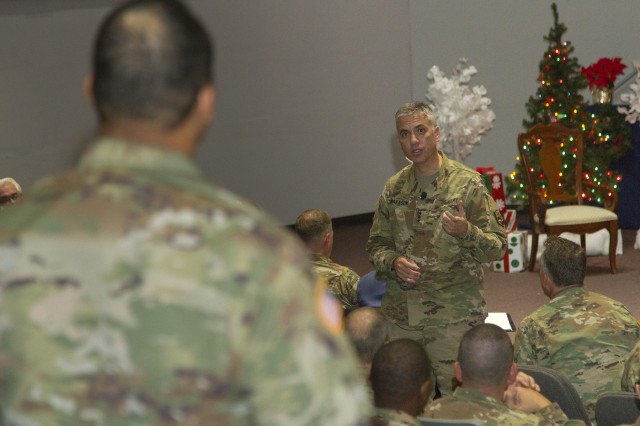 Lt. Gen. Paul Nakasone, commanding general of U.S. Army Cyber Command (ARCYBER), visited the Army Network Enterprise Technology Command (NETCOM) for a series of mission briefings and a workforce town hall, at Fort Huachuca, Ariz., Dec. 16, 2016. NETCOM is responsible for the operation and defense of the Army portion of the Department of Defense Information Network, and reports directly to ARCYBER. Along with the staff briefings, Nakasone provided an update of Army initiatives and answered questions from the NETCOM headquarters team of Civilians and Soldiers, who along with ARCYBER and other subordinate units, comprise the Army's operational force in cyberspace.