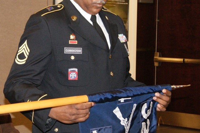 Sgt. 1st Class John Cunningham furls the Alpha Company colors at the 4th Battalion, 321st Regiment's deactivation ceremony at Redstone Arsenal, Ala., Dec. 18, 2016. The deactivation is part of the 800th Logistics Support Brigade restructuring, which is a result of the overall Army Reserve drawdown.