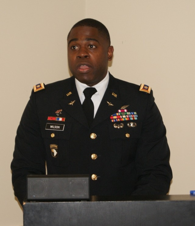 Maj. Wilson Speaks at Battalion Deactivation