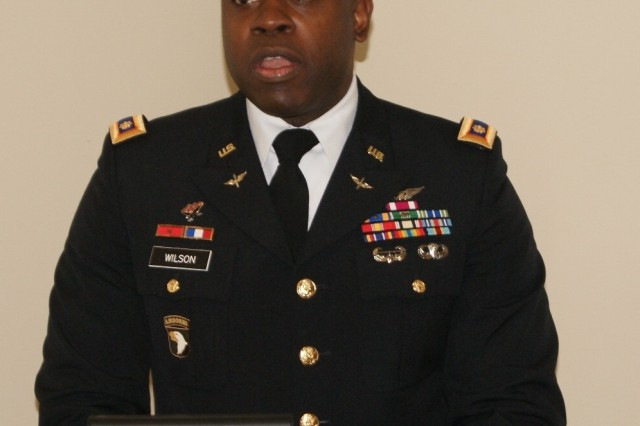 Maj. Marquis Wilson, commander of the 4th Battalion, 321st Regiment, speaks at the battalion's deactivation ceremony at Redstone Arsenal, Ala., Dec. 18, 2016. The deactivation is part of the 800th Logistics Support Brigade restructuring, which is a result of the overall Army Reserve drawdown.