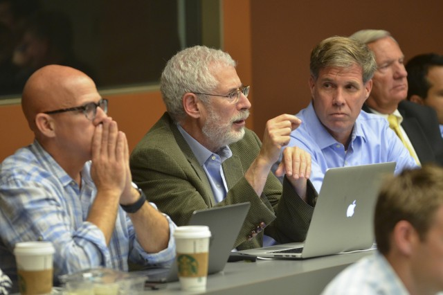 From left, instructors Peter Newell, Steve Blank and Joe Felter, a former U.S. Army Special Forces colonel and a co-founder of BMNT, observe an H4D class. The three, who together taught the first Hacking for Defense class at Stanford, are writing a book on Hacking for Defense, which publisher John Wiley & Sons is expected to release this fall. (Photos by Rod Searcey, Stanford News Service)