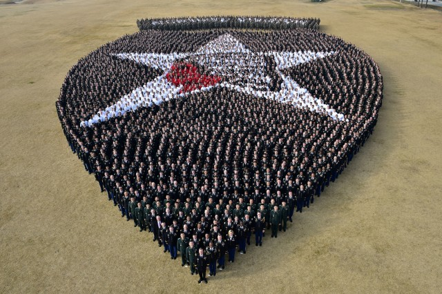 More than 5,000 Soldiers, led by Maj. Gen. Ted D. Martin, commanding general for 2nd Infantry Division/ROK-US Combined Division, re-create the division's indianhead insignia at Indianhead Field on Camp Casey, South Korea, Dec. 21, 2016. This was the third time 2ID has recreated the insignia.