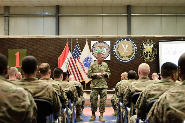 Sgt. Maj. of the Army Dan Dailey addresses deployed Soldiers during a town hall Dec. 19, 2016, in Baghdad, Iraq.