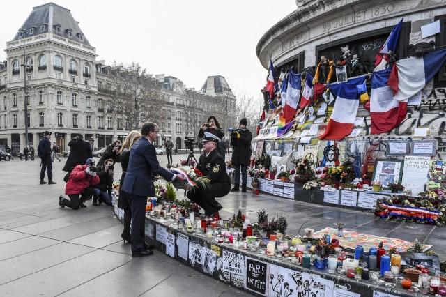 U.S. Defense Secretary Ash Carter and Jane D. Hartley, U.S. ambassador to France, lay a wreath at Place de La Republique in Paris, Jan. 20, 2016, to honor the victims of the November attacks in the city. Carter is in Paris to meet with his French counterpart and attend a defense ministerial, which will address the fight against the Islamic State of Iraq and the Levant.
