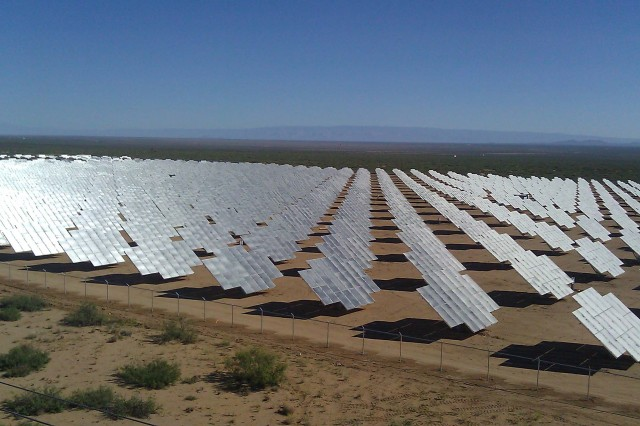 An aerial view of the solar photovoltaic array at White Sands Missile Range, N.M. The panels cover 42 acres and provide more than 4 megawatts of electricity to the base.