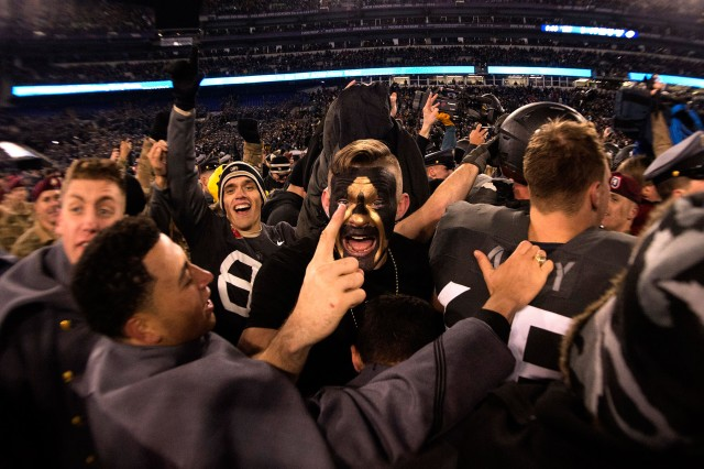 Army West Point Football players celebrate after winning the 117th Army Navy Game presented by USAA at M&T Bank Stadium in Baltimore December 10, 2016. Army defeated the U.S. Naval Academy 21-17 snapping Navy's 14-year win streak.