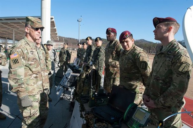 U.S. Army Spc. Bryan McGuigan, a Tactical Satellite Operator assigned to 112th Signal Detachment, Special Operations Command Korea, briefs U.S. Eighth Army Commanding General, Lt. Gen. Thomas S. Vandal about the SDN SOF Deployable Node during a static display at a Republic of Korea Special Warfare Command Installation.