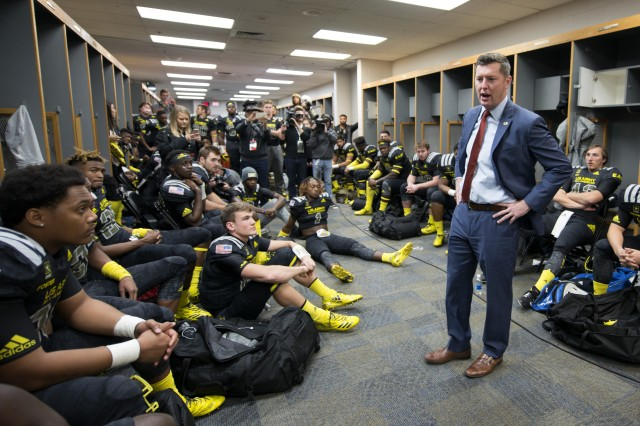 Under Secretary of the Army Patrick Murphy delivers a pep talk to East players before the start of the Army All-American Bowl in San Antonio Jan. 7, 2017.