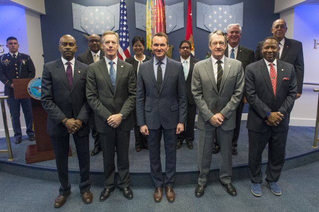 "Secretary of the Army Eric K. Fanning recognized nine civilians as new ""Civilian Aides to the Secretary of the Army,"" during a CASA investiture ceremony, January 9, 2017 in the Pentagon's Hall of Heroes. A CASA is a civilian who acts as a liaison for the secretary of the Army in his or her community. The goal of the CASA program is to, among other things, create stronger bonds between civilian communities and the Army, and build greater awareness of the Army and what it does, especially in communities with little exposure to the Army."