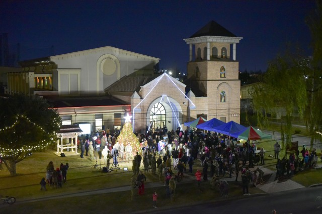 The Camp Walker Chapel shines during the Area IV USAG Daegu Holiday Tree Lighting Ceremony.