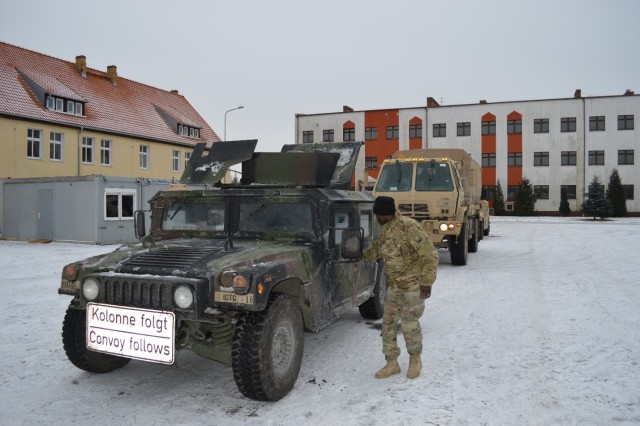 SWIETOSZOW, Poland -- A 1st Inland Cargo Transfer Co., 39th Movement Control Bn., 16th Sust. Bde., Soldier prepares for a convoy in support of the 3rd Armored Brigade Combat Team, 4th Infantry Division's arrival for a nine month rotation in Eastern Europe. Soldiers from the 16th Sustainment Brigade received, staged, and helped move the 3rd Armored Brigade Combat Team, 4th Infantry Division, as they rapidly assembled their forces in tactical assembly areas in Poland in the last few days. (U.S. Army Photo by 1st Lt. Mark Schneider, 16th Sustainment Brigade Public Affairs)