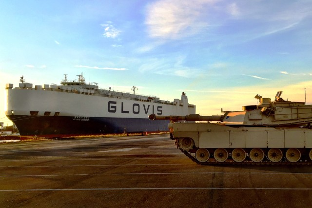 An M1A2 Abrams tank from 1st Battalion, 68th Armor Regiment, 3rd Armored Brigade Combat Team, 4th Infantry Division, sits on the dock after being off-loaded from a cargo vessel at the port of Bremerhaven, Germany, January 6, 2017. The 3rd ABCT's full equipment set began arriving to Germany from Fort Carson, Colorado, and will be transported to Poland by rail, line haul and military convoys over the next two weeks to kick off the beginning of the heel-to-toe rotations of U.S.-based armored brigades to Europe in support of Operation Atlantic Resolve.