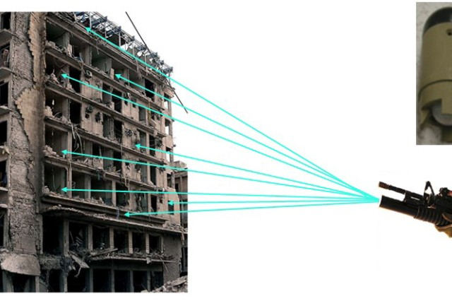 The Small Arms Deployable Sensor Network allows the Soldier to gather intelligence on a building without actually entering the building, so they don't have to put themselves in harm's way. Courtesy image.