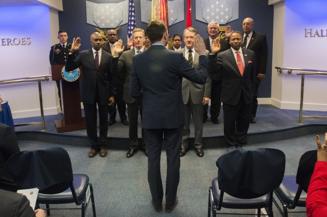 Secretary of the Army Eric Fanning swears in nine new Civilian Aides to the Secretary of the Army, or CASAs, on Jan. 9, 2017 in the Pentagon Hall of Heroes.